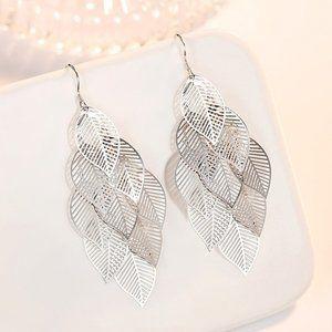 NEW 925 Sterling Silver Leaf Drop Earrings